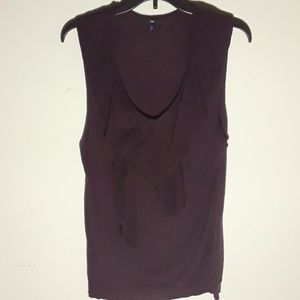 Purple sleeveless blouse with ruffle